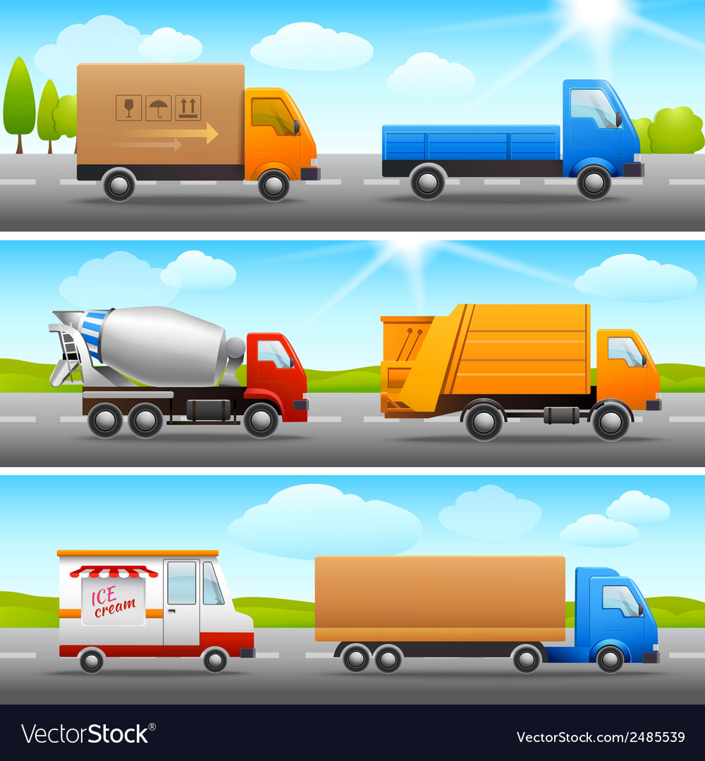 Realistic truck icons on road vector | Price: 1 Credit (USD $1)