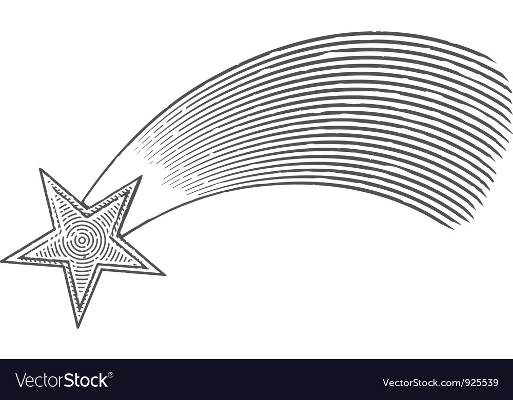 Shooting star in engraved style vector | Price: 1 Credit (USD $1)