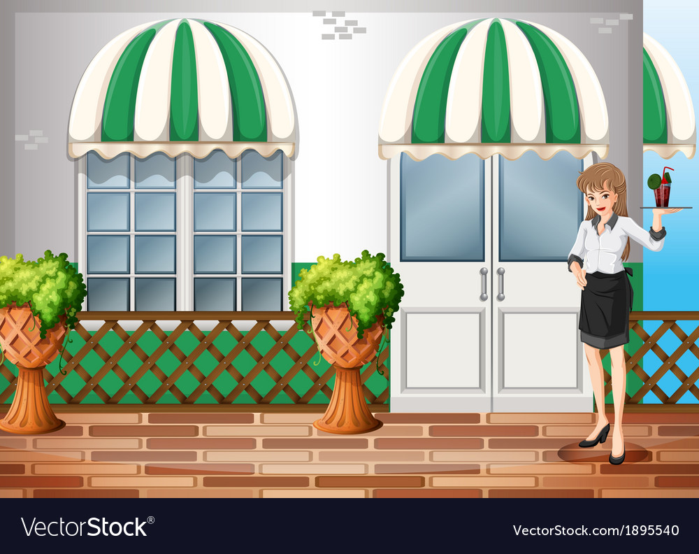 A waiting staff carrying a tray vector | Price: 1 Credit (USD $1)