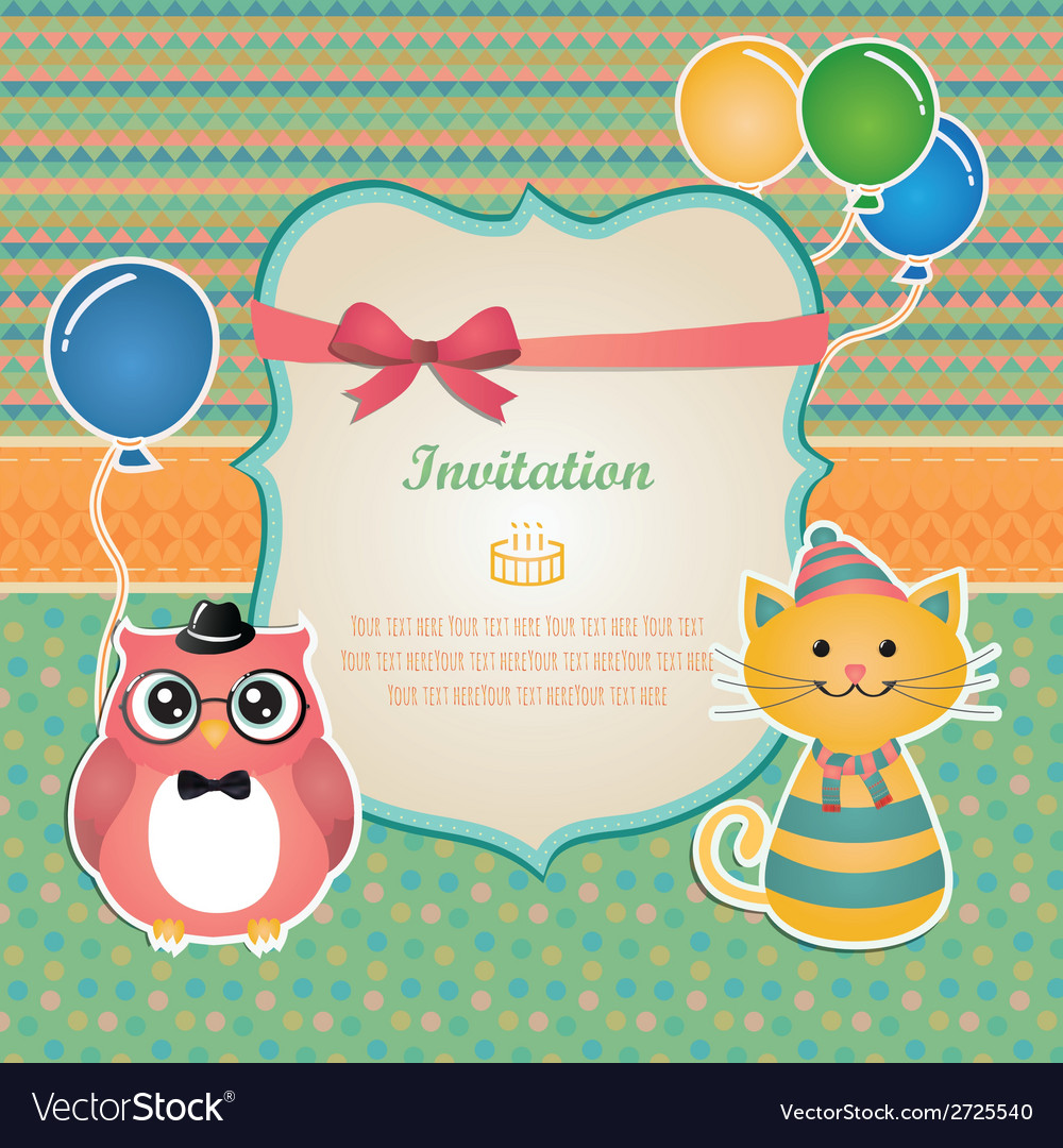 Birthday party invitation card design vector | Price: 1 Credit (USD $1)