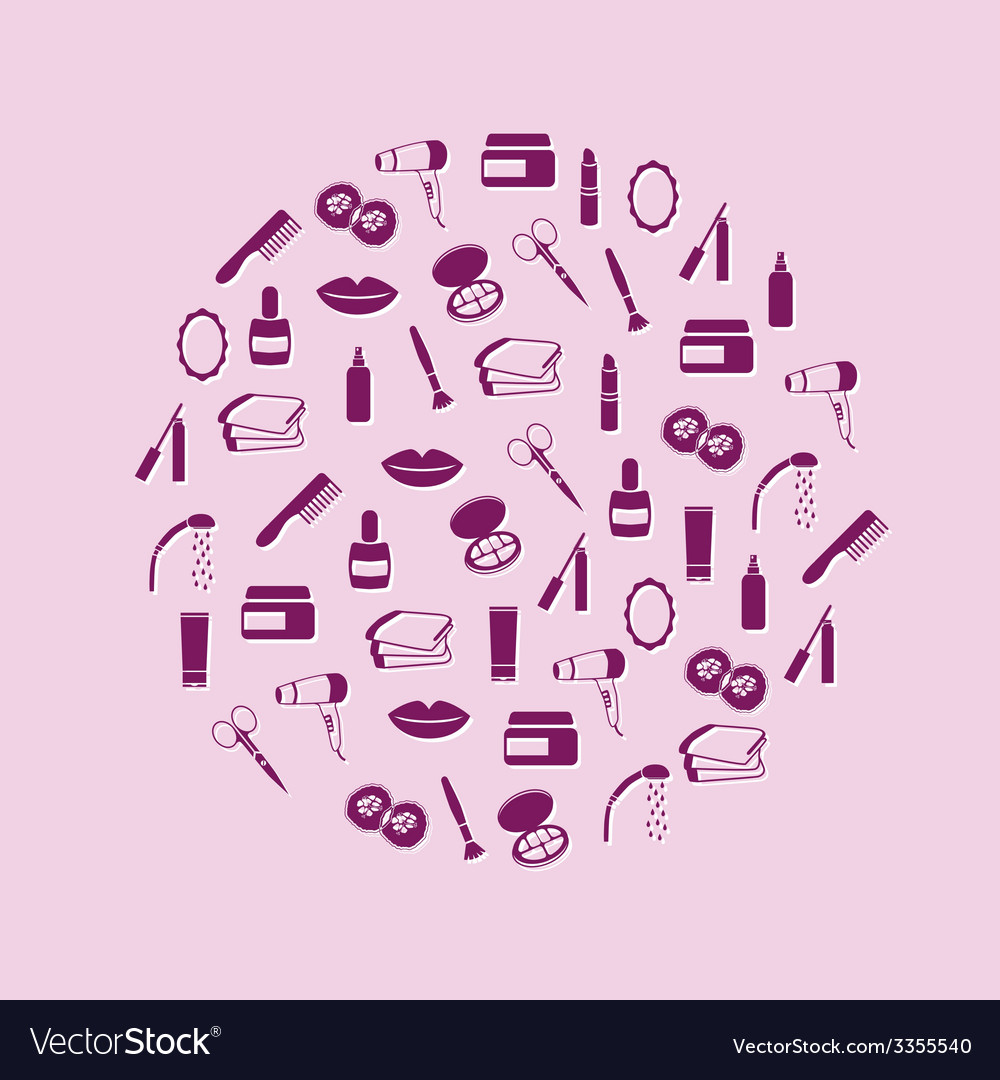 Cosmetics icons in circle vector | Price: 1 Credit (USD $1)