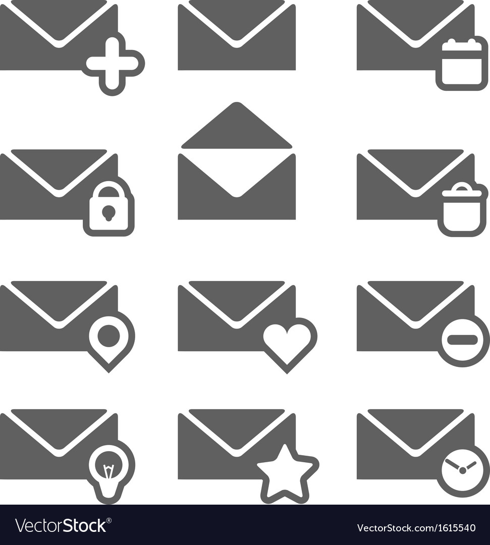 Different mailing web icons isolated on white vector | Price: 1 Credit (USD $1)
