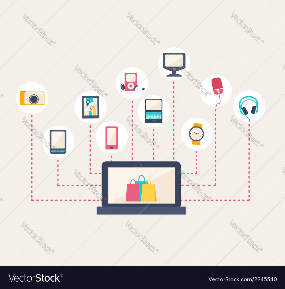 E-commerce icons surrounding a laptop vector | Price: 1 Credit (USD $1)