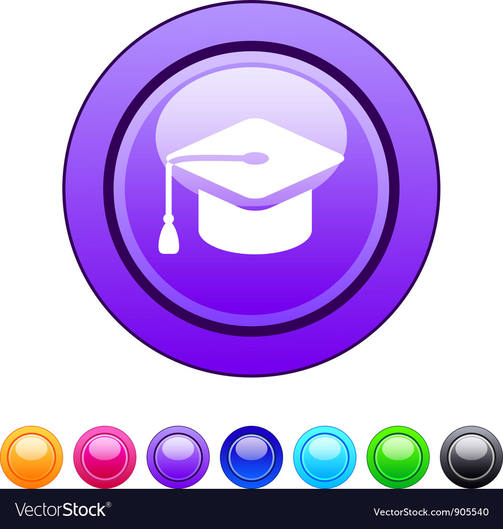Graduation circle button vector | Price: 1 Credit (USD $1)
