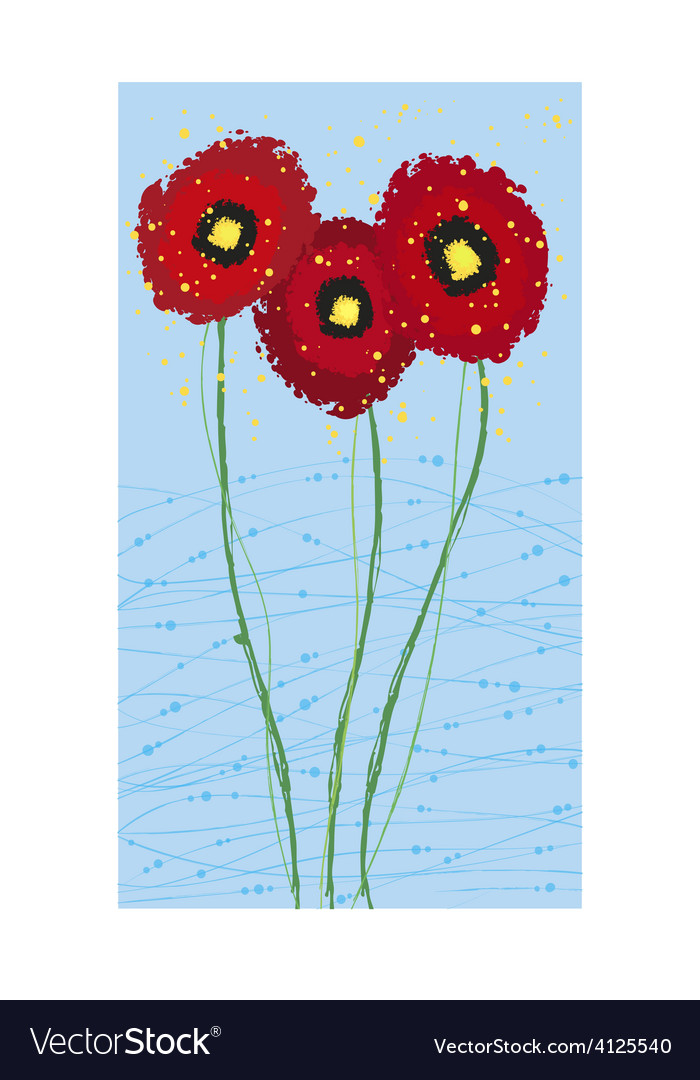 Long card poppies vector | Price: 1 Credit (USD $1)