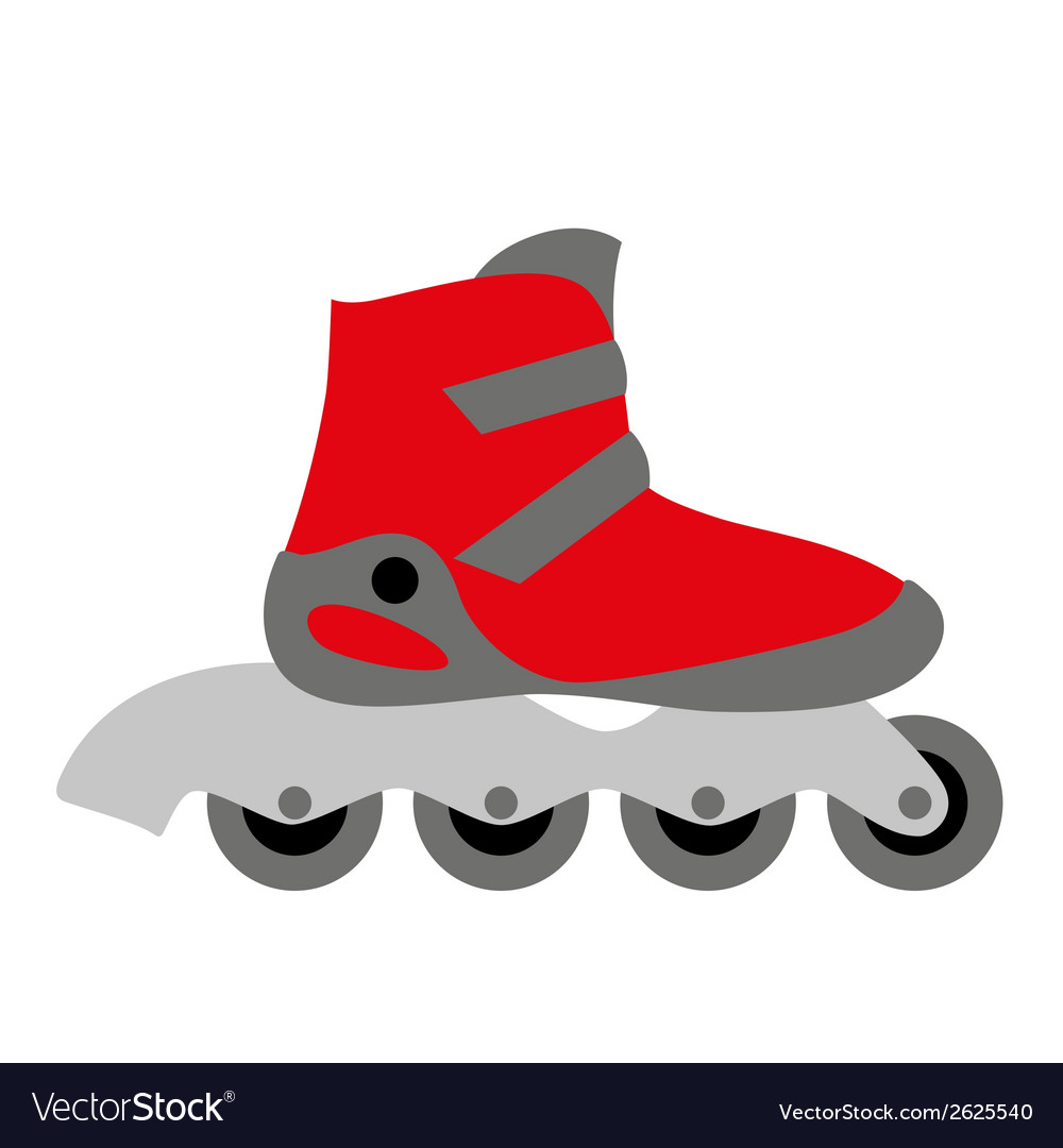 Red inline roller skate vector | Price: 1 Credit (USD $1)