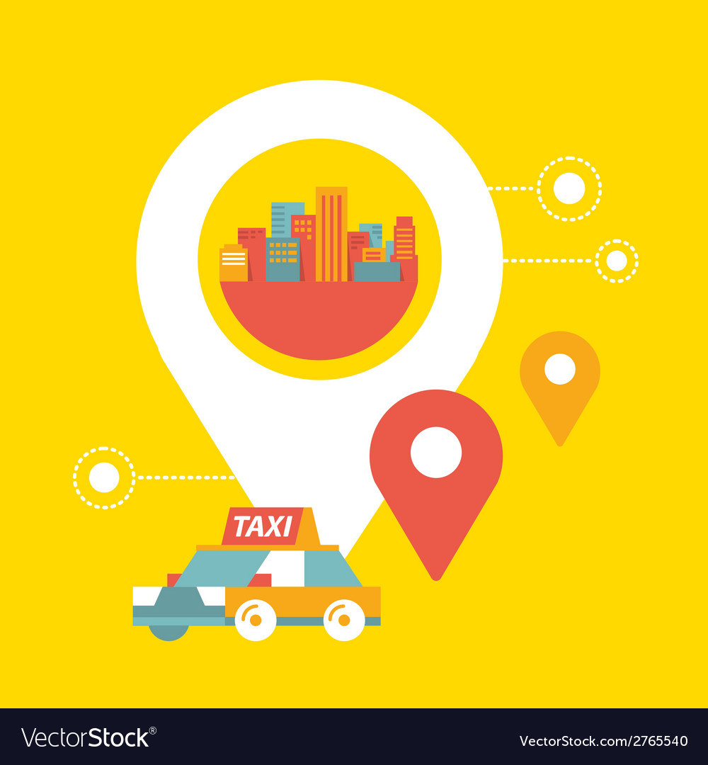 Taxi service and navigation in city vector | Price: 1 Credit (USD $1)