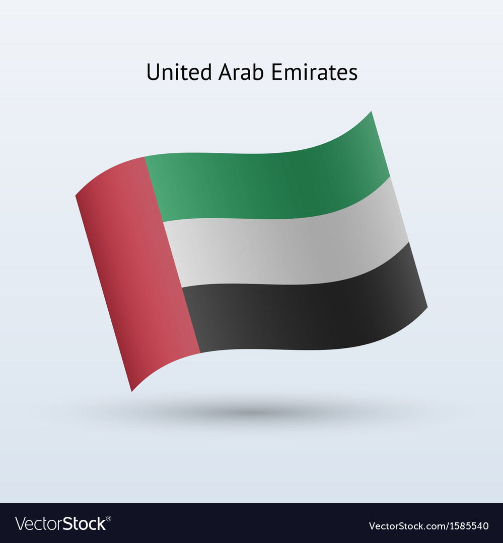United arab emirates flag waving form vector | Price: 1 Credit (USD $1)