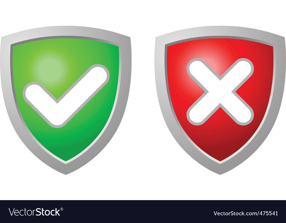 Accept and deny security shiel vector | Price: 1 Credit (USD $1)