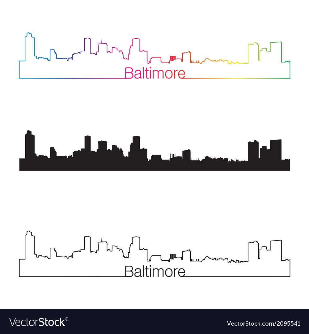 Baltimore skyline linear style with rainbow vector | Price: 1 Credit (USD $1)