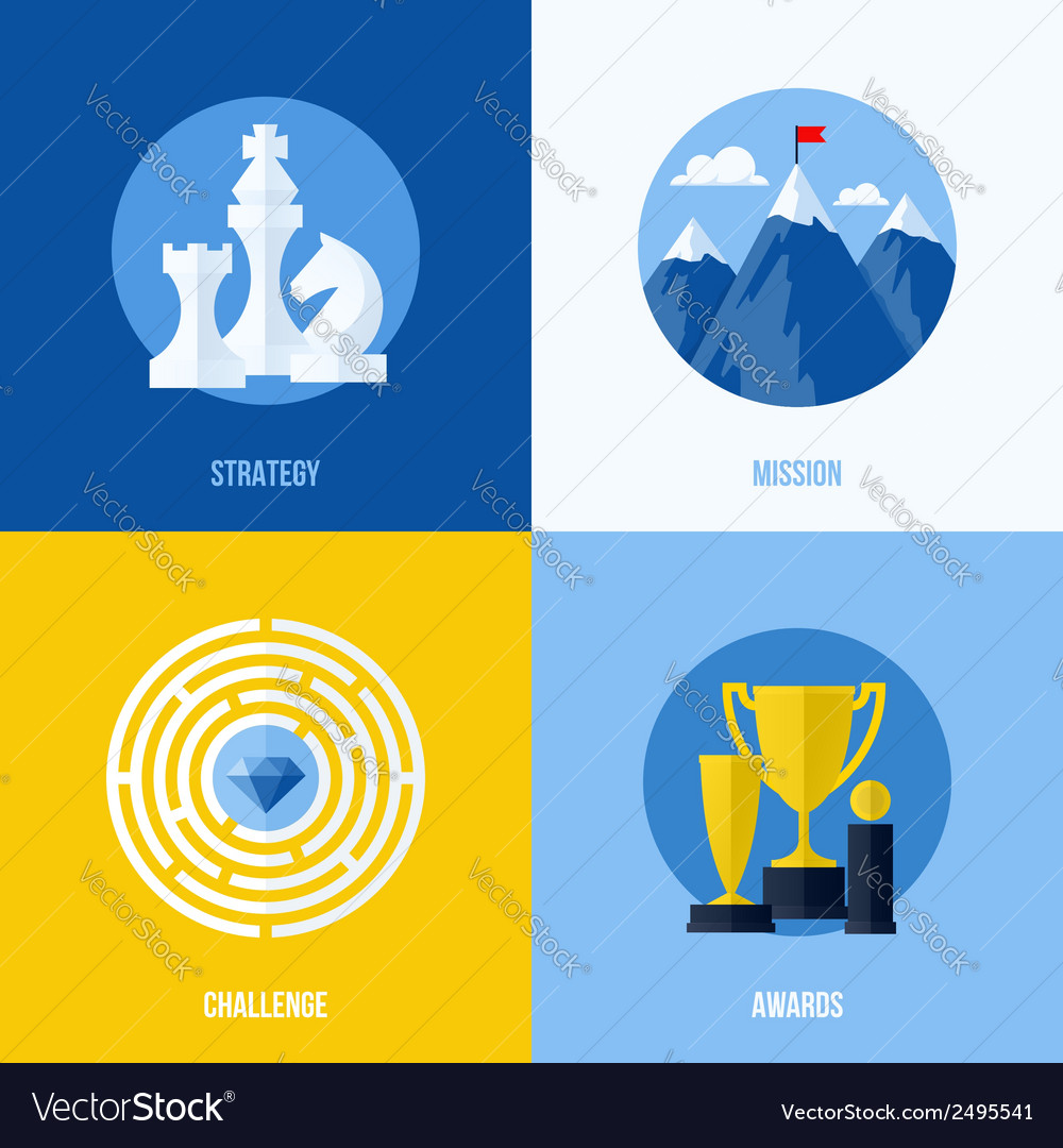Concepts for strategy mission challenge awards vector | Price: 1 Credit (USD $1)