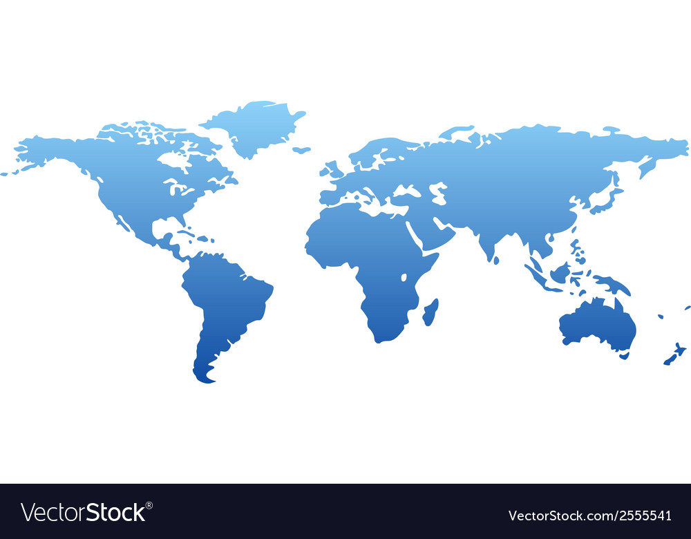 Map of the world - blue silhouette isolated vector | Price: 1 Credit (USD $1)
