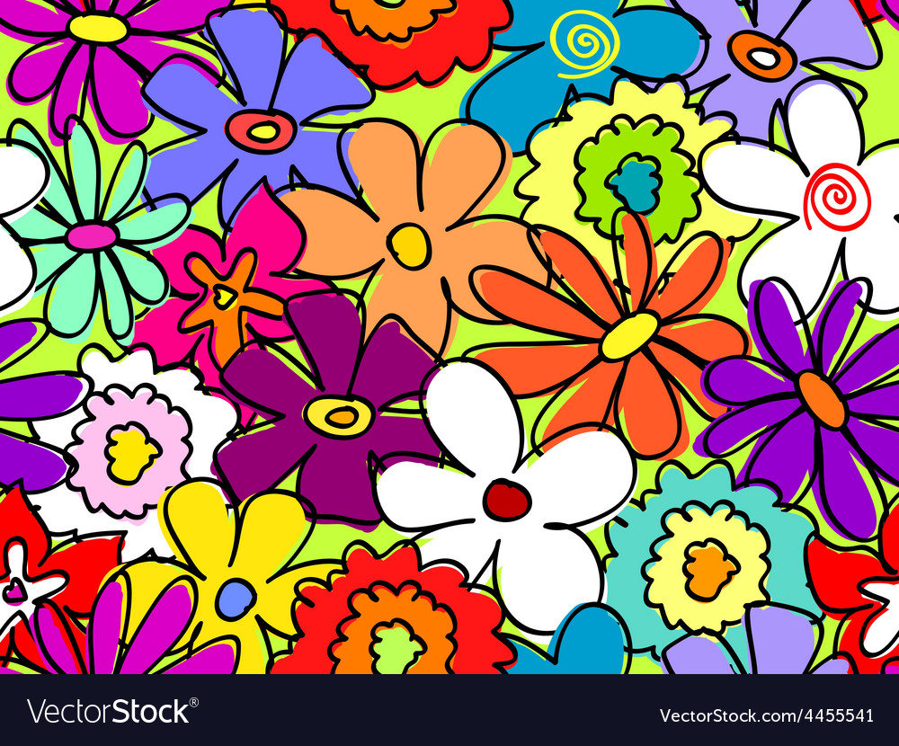 Seamless busy flower pattern 2 vector | Price: 1 Credit (USD $1)