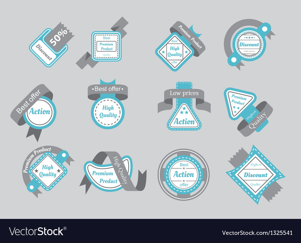 Set of cyan seals with gray ribbons vector | Price: 1 Credit (USD $1)