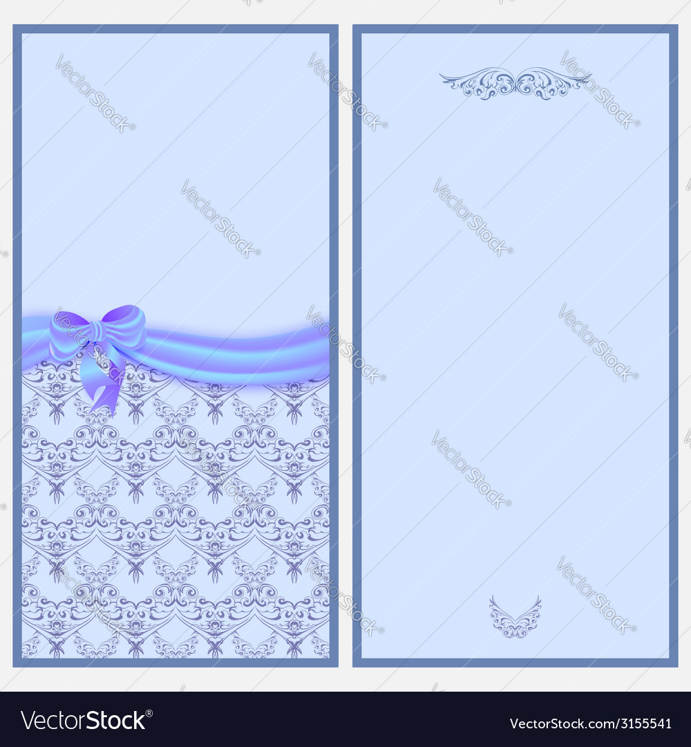 Template invitation card with a satin ribbon and vector | Price: 1 Credit (USD $1)