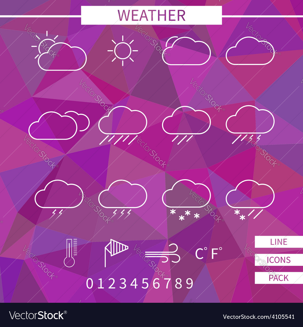 Weather icon set white thin line elements on vector | Price: 1 Credit (USD $1)