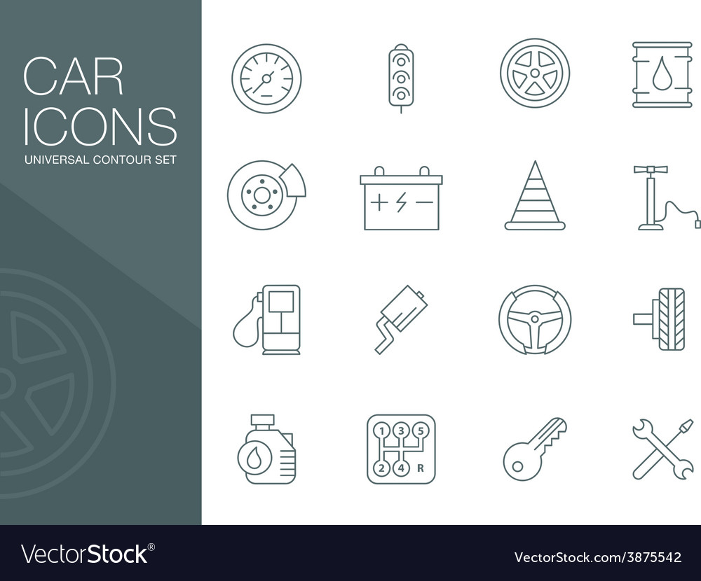 Auto mechanic related icons silhouettes vector | Price: 1 Credit (USD $1)