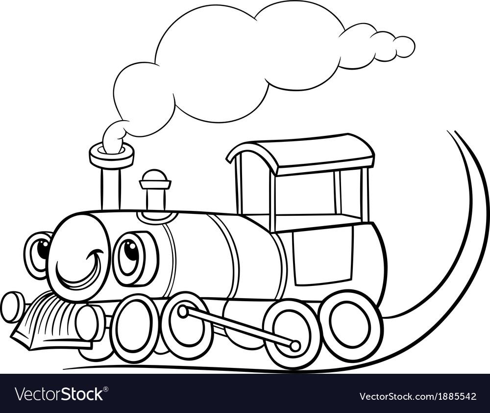 Cartoon locomotive or engine coloring page vector | Price: 1 Credit (USD $1)