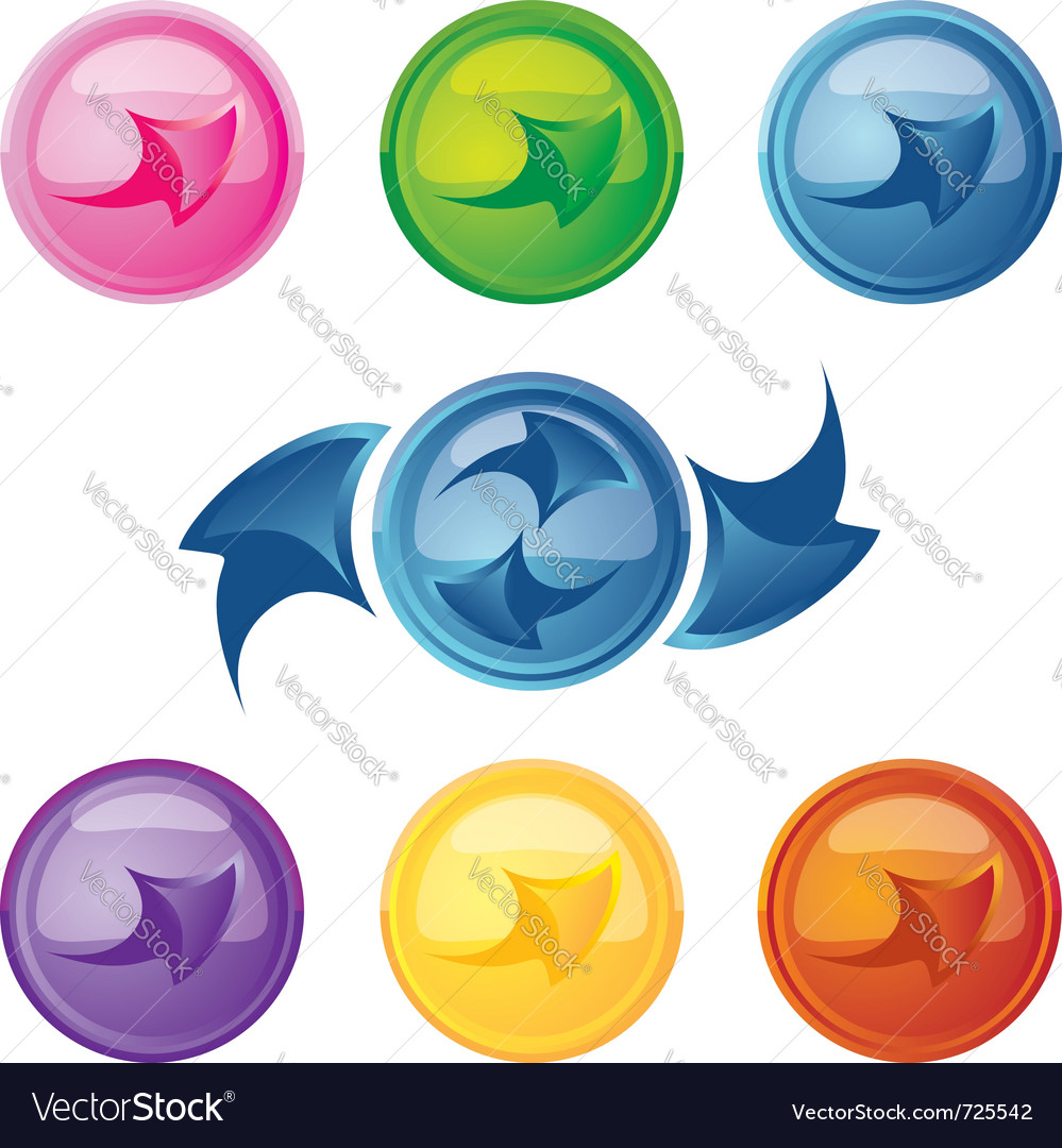 Colored buttons with arrows vector | Price: 1 Credit (USD $1)