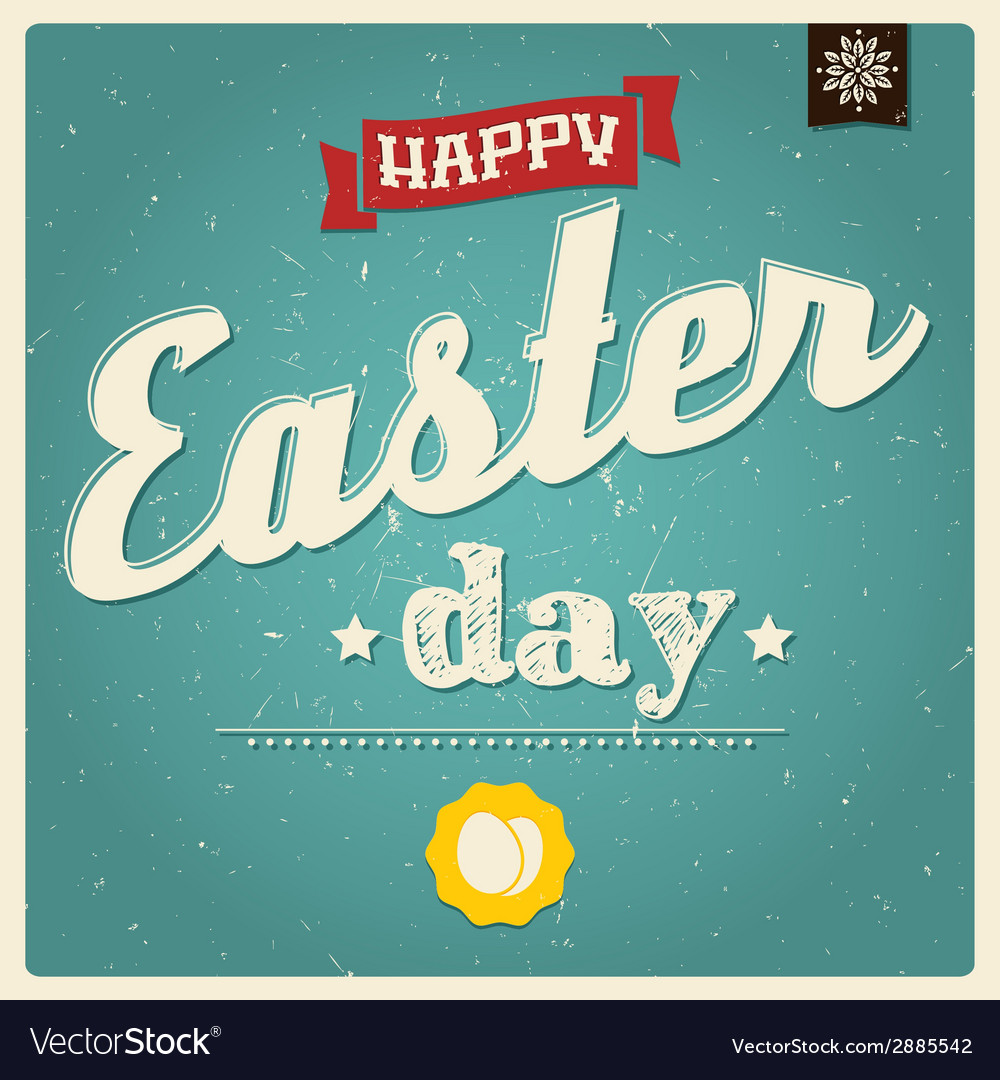 Happy easter day card typographical background vector | Price: 1 Credit (USD $1)