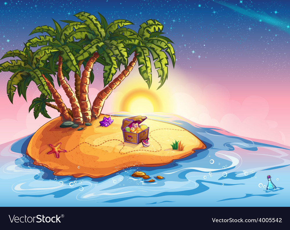 Island with palm trees and a treasure vector | Price: 5 Credit (USD $5)