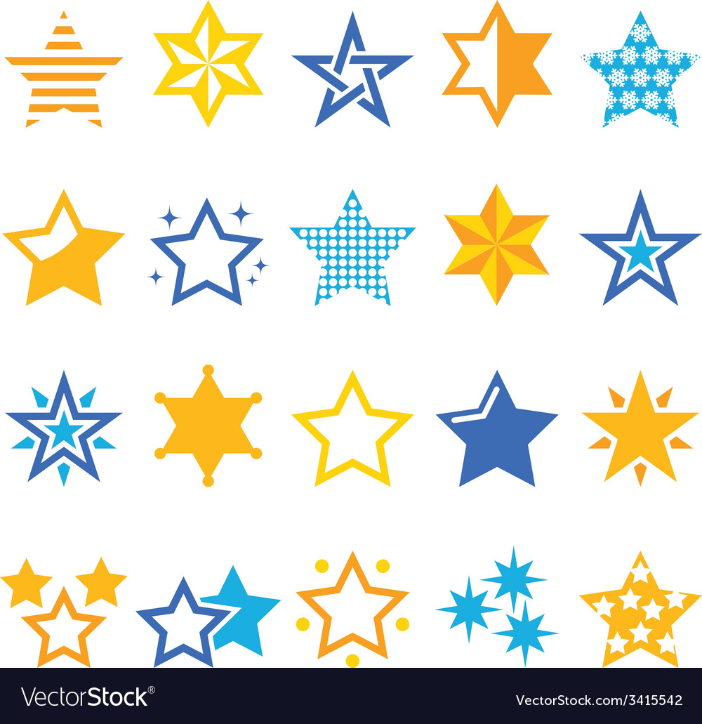 Stars gold and blue icons vector | Price: 1 Credit (USD $1)