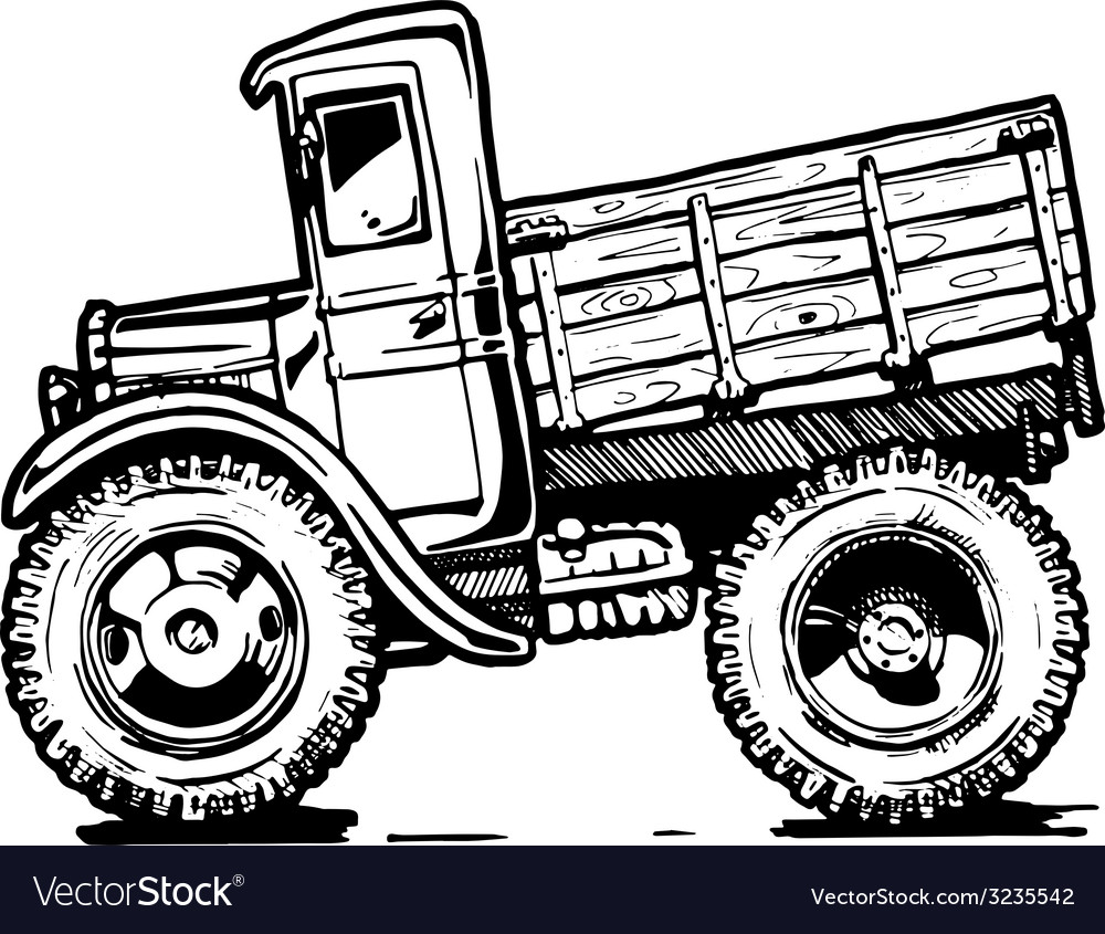 Vintage truck vector | Price: 1 Credit (USD $1)