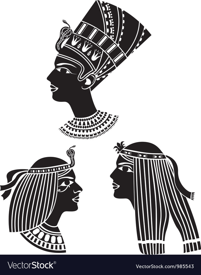 Ancient egypt women profiles vector | Price: 1 Credit (USD $1)