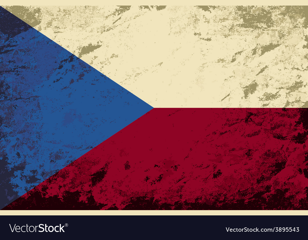 Czech flag grunge background vector | Price: 1 Credit (USD $1)