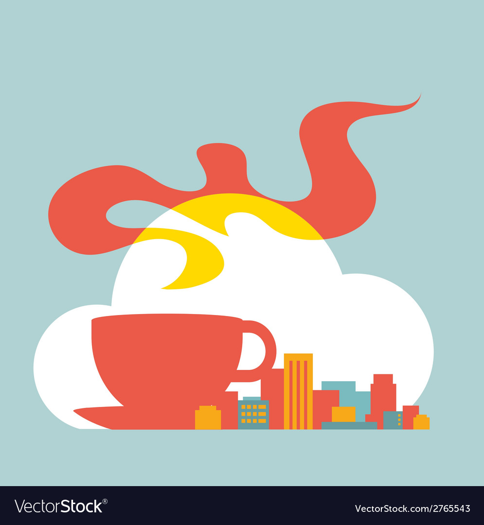Flat style modern city with cup of coffee and vector | Price: 1 Credit (USD $1)