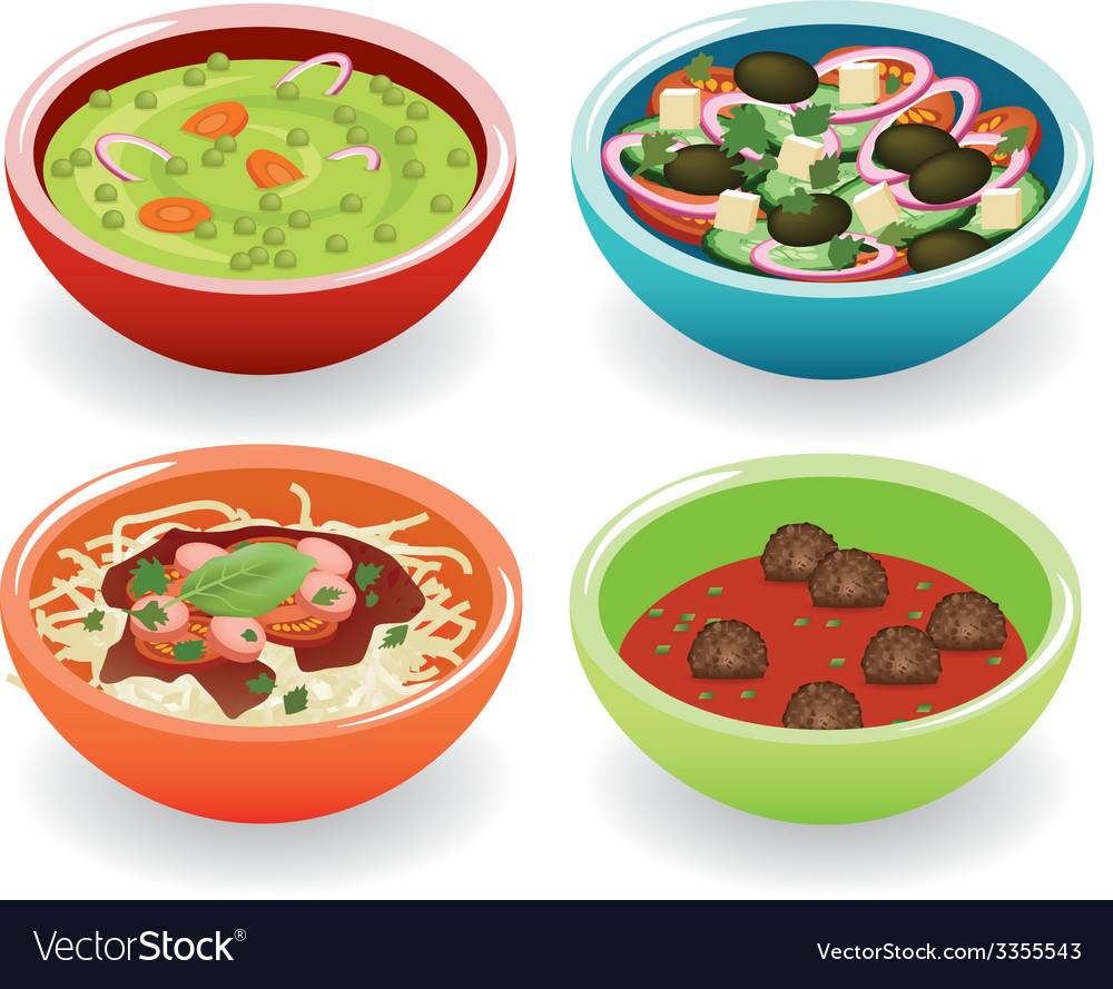 Four foods in bowl vector | Price: 1 Credit (USD $1)