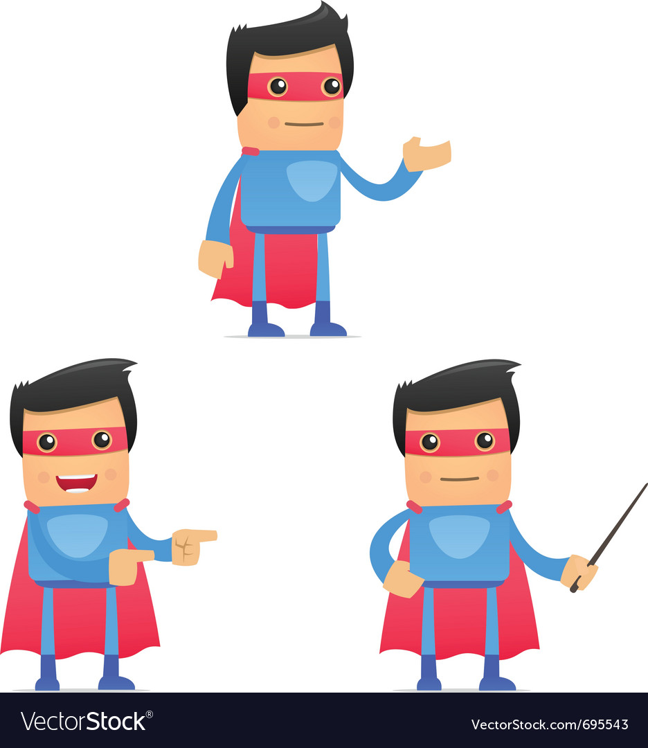 Set of funny cartoon superhero vector | Price: 3 Credit (USD $3)