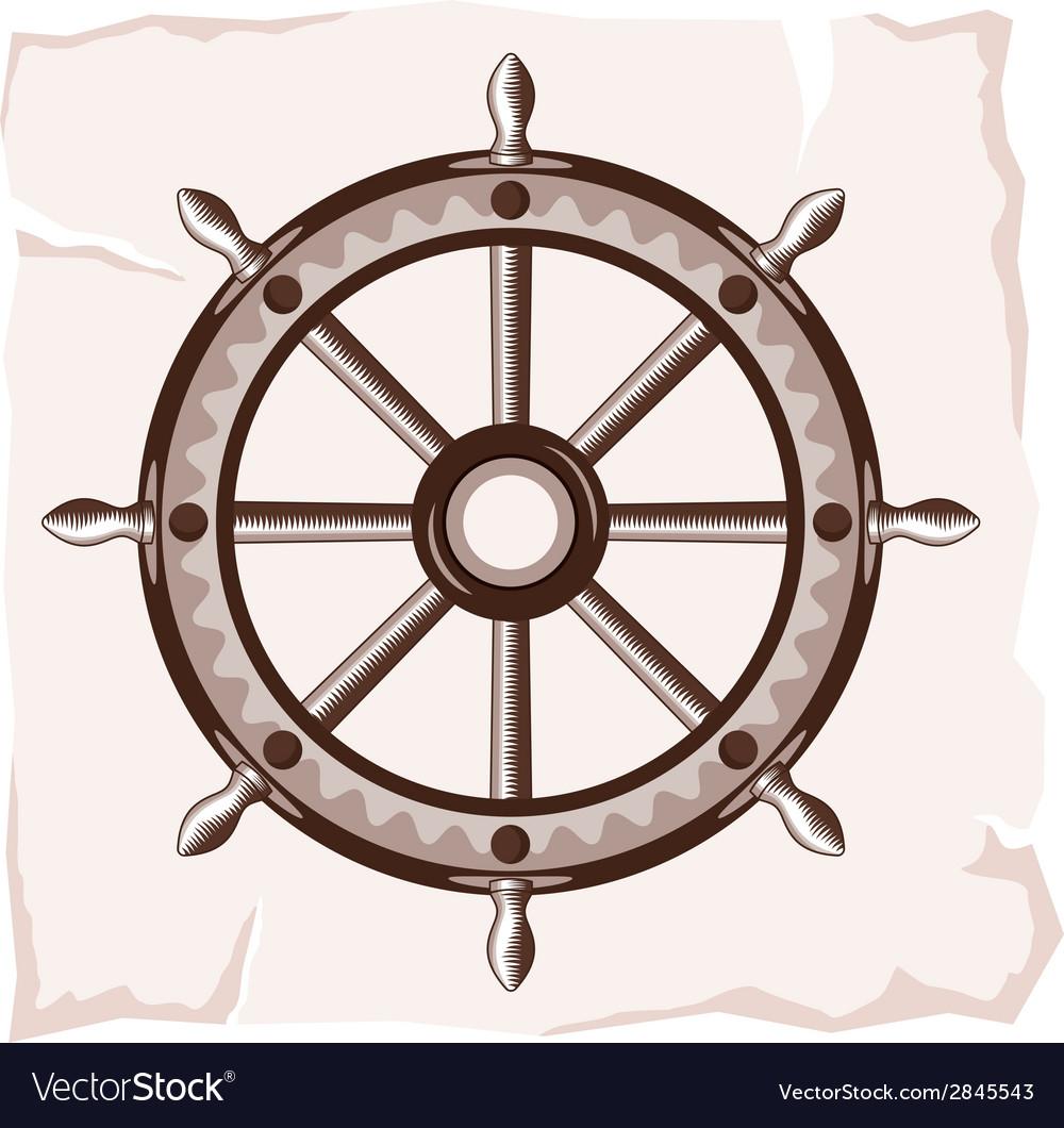 Ship wheel retro resize vector | Price: 1 Credit (USD $1)