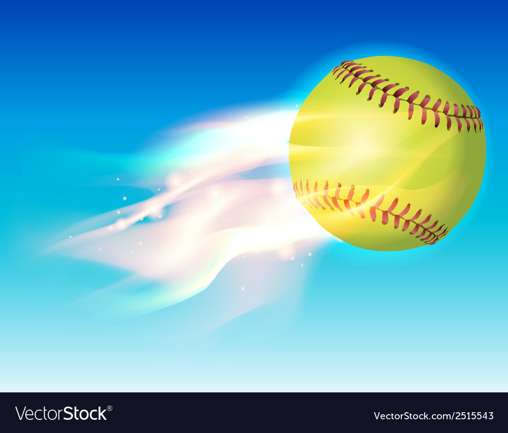 Softball on fire in the sky vector | Price: 1 Credit (USD $1)