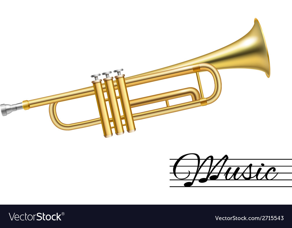 Trumpet isolated on white vector | Price: 1 Credit (USD $1)