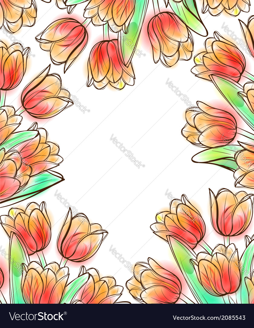 Tulips frame design template vector | Price: 1 Credit (USD $1)