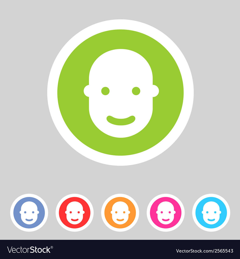 User avatar face profile flat icon vector | Price: 1 Credit (USD $1)