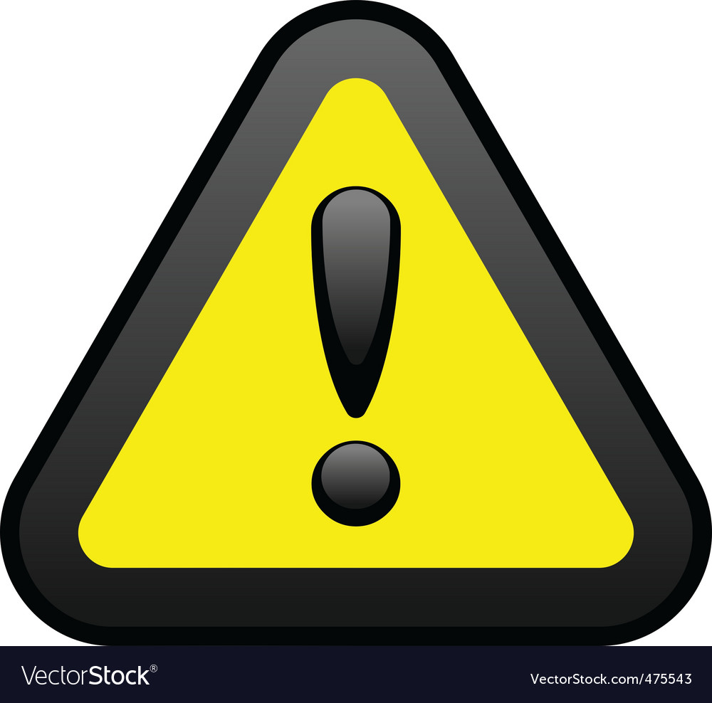 Yellow warning sign vector | Price: 1 Credit (USD $1)