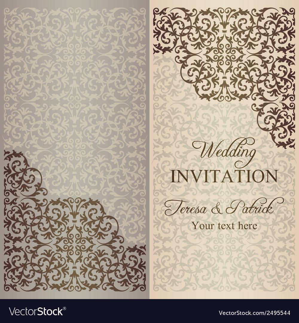 Baroque wedding invitation patina vector | Price: 1 Credit (USD $1)