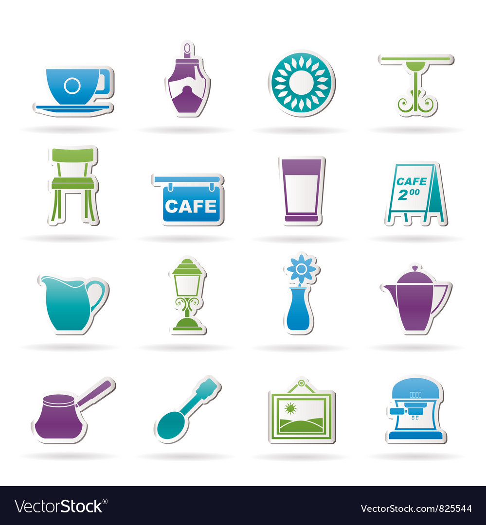 Cafe and coffeehouse icons vector | Price: 1 Credit (USD $1)