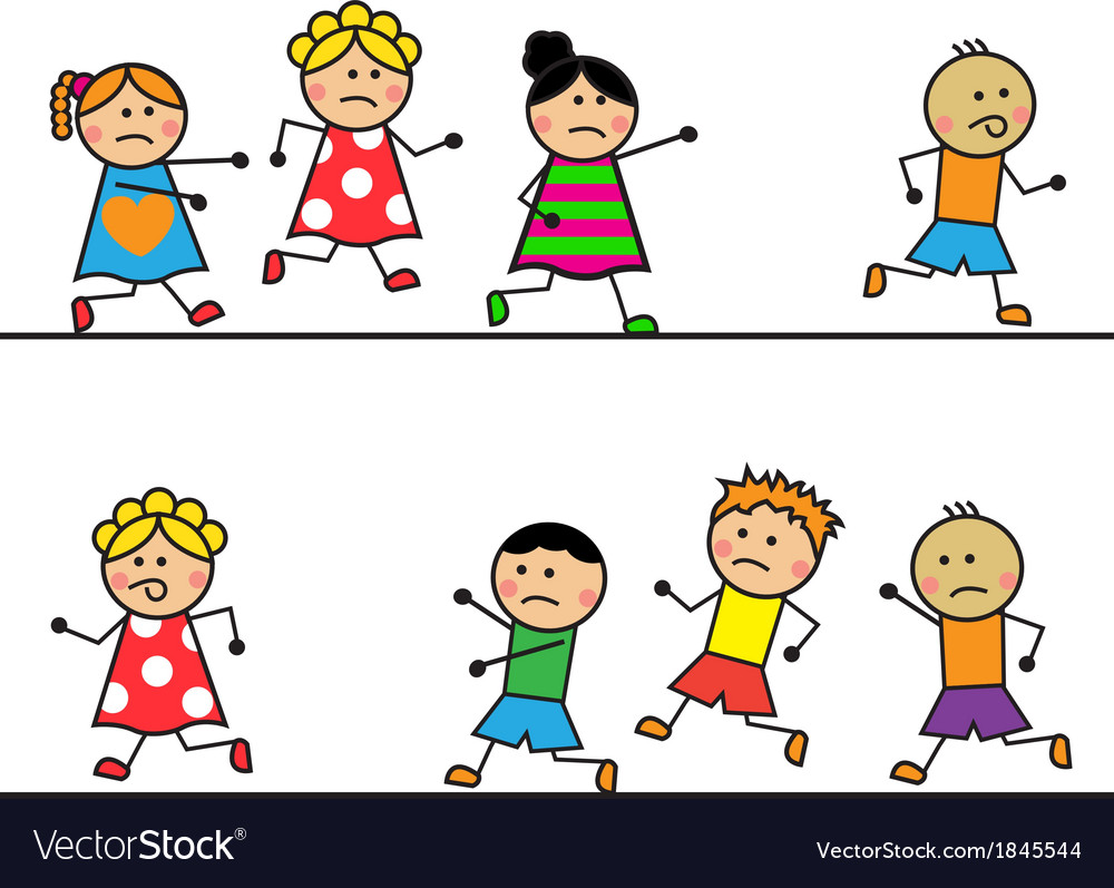 Cartoon people run and catch up with each other vector | Price: 1 Credit (USD $1)