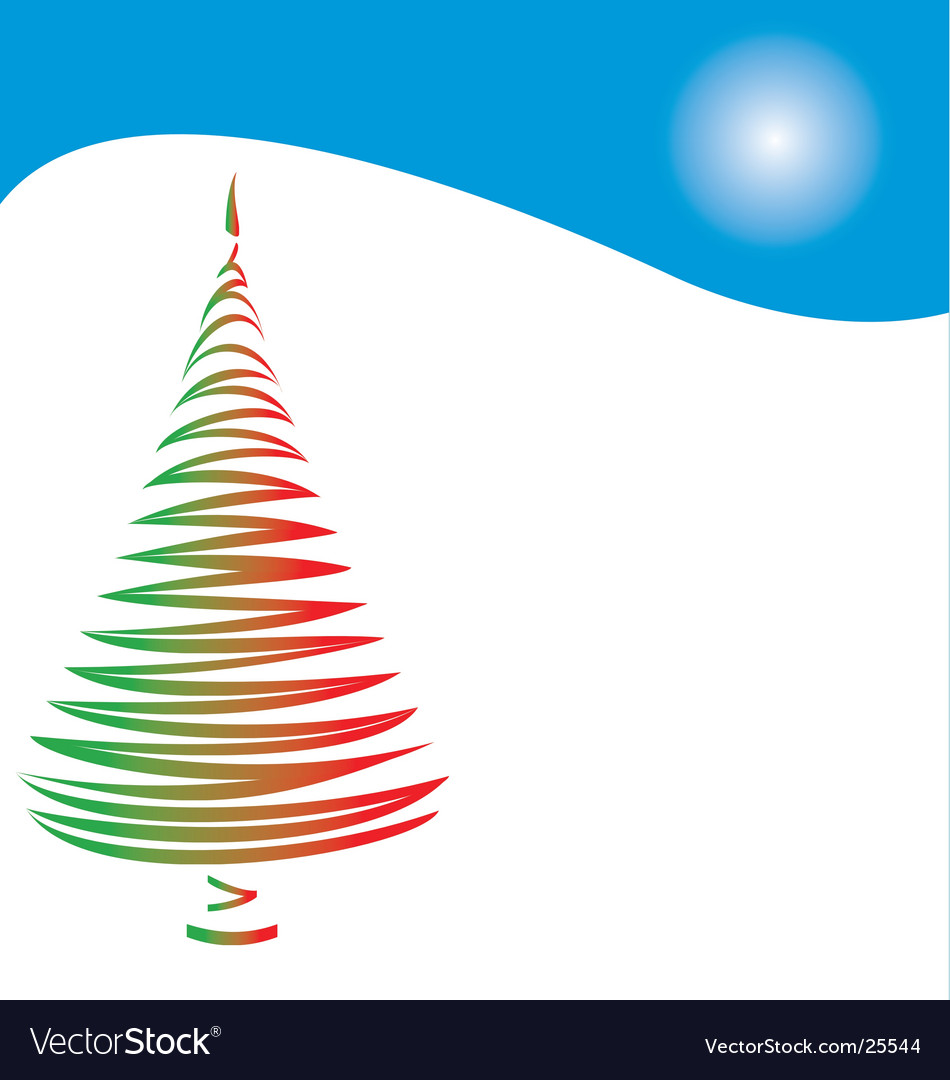 Christmas tree and hill vector | Price: 1 Credit (USD $1)