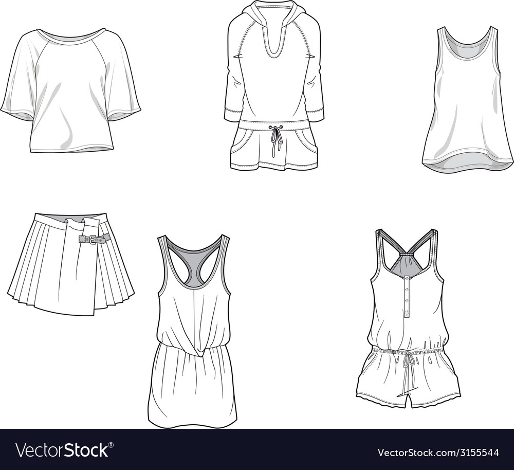 Fashion clothing tshirt skirt shirt trousers vector | Price: 1 Credit (USD $1)