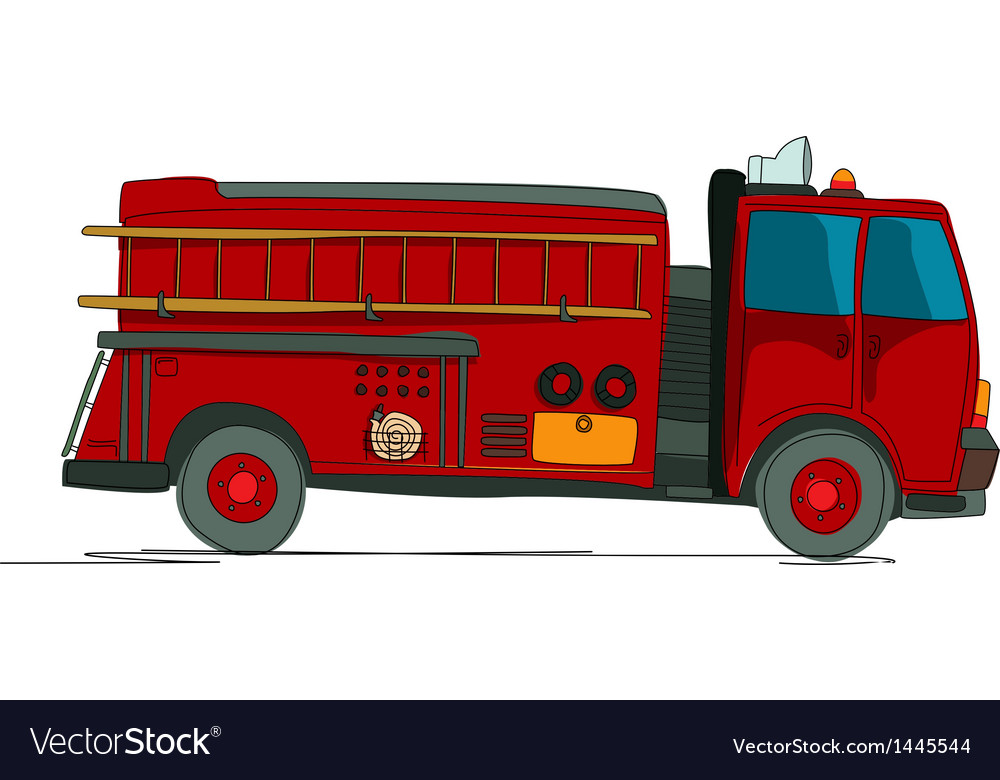 Fire truck cartoon vector | Price: 1 Credit (USD $1)