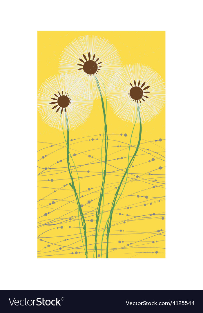 Long card white dandelion vector | Price: 1 Credit (USD $1)