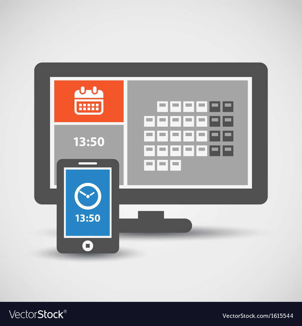 Modern mobile phone and monitor vector | Price: 1 Credit (USD $1)