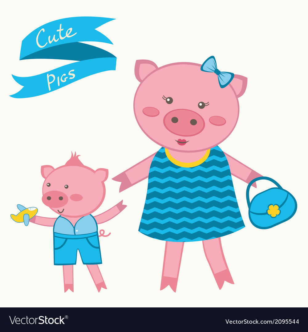 Mother pig and piglet vector | Price: 1 Credit (USD $1)