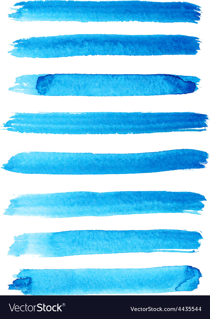 Set of bright blue color brush strokes vector | Price: 1 Credit (USD $1)