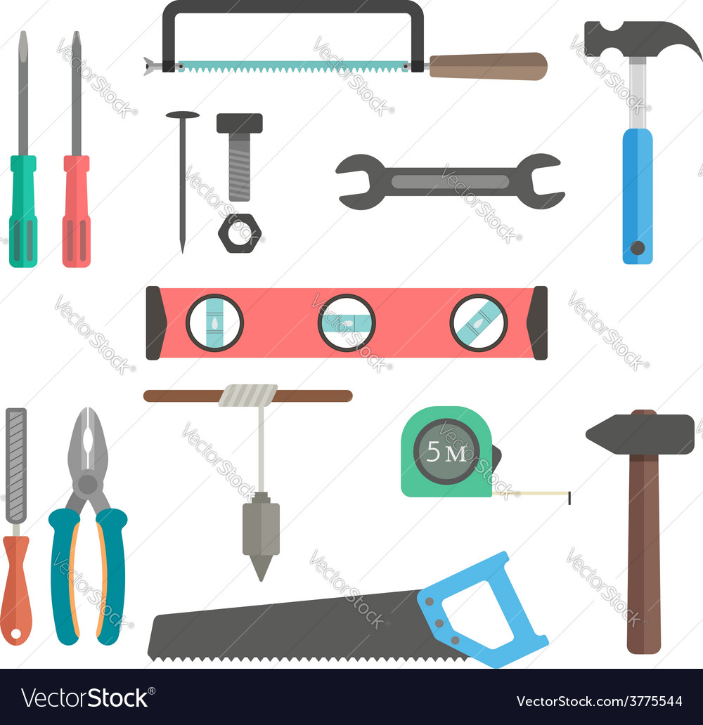 Set of tools on white background vector | Price: 1 Credit (USD $1)