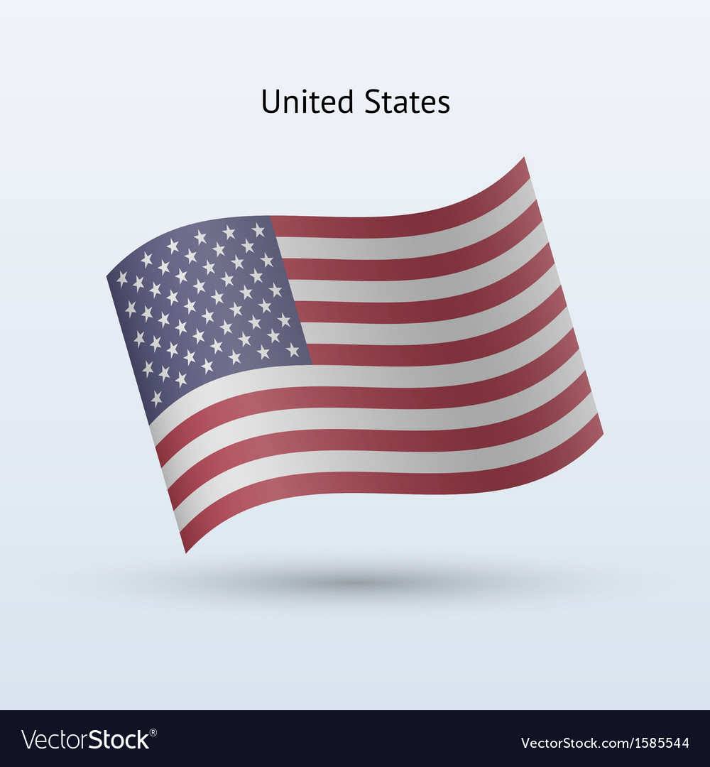 United states flag waving form vector | Price: 1 Credit (USD $1)
